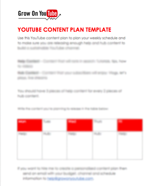 YouTube Content Plan Template Download